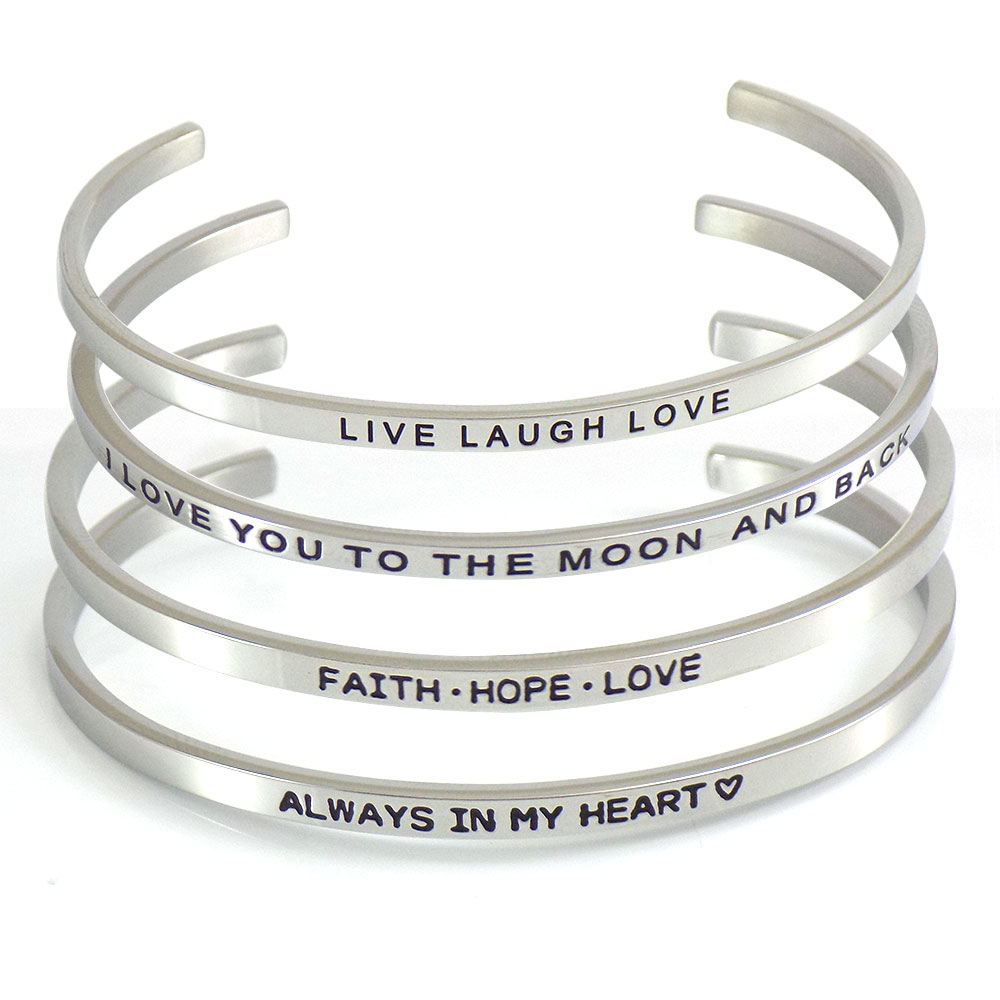 12589a13012bf Set Of 4 Stainless Steel Stacking Cuff Bracelets Of Love