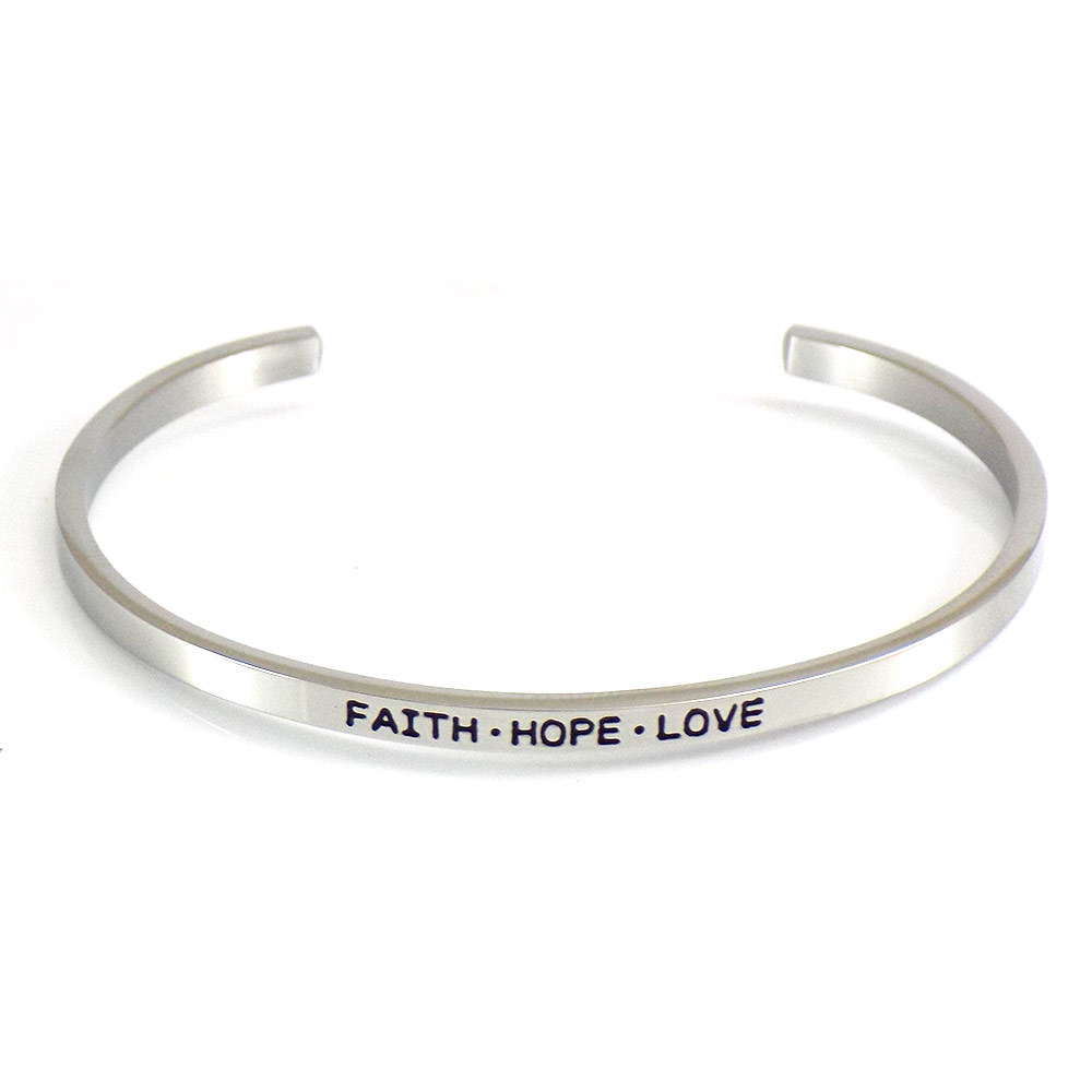 6b7ba71ca1485 Stainless Steel Faith Hope Love Cuff Bracelet Of Love